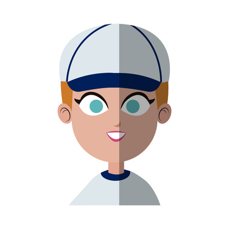 woman wearing a cap over white background. colorful desing. vector illustration