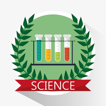 science test tube school supplies vector illustration