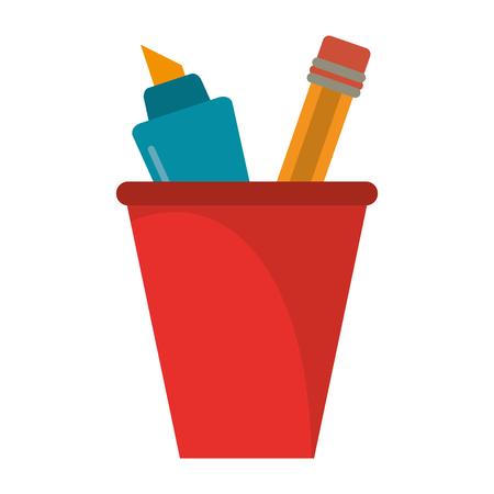cup pencil school utensil vector