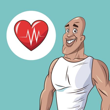 beat: healthy man athletic heart beat icon vector illustration