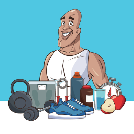 life style: healthy man life style sport vector illustration eps 10