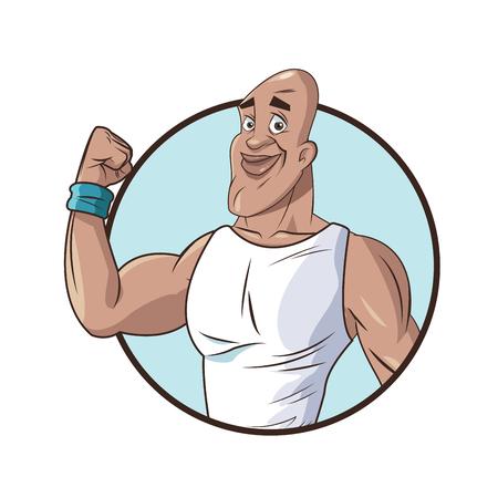hombre sano fuerte fuerte icono de fitness ilustración vectorial