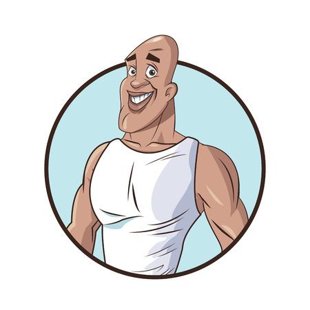 healthy man muscular fitness vector illustration