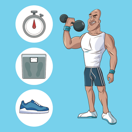 healthy man athletic muscular weight scale sneaker vector illustration eps 10