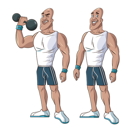 healthy men athletic muscular weight vector illustration eps 10