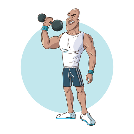 healthy man athletic muscular lifting weight vector illustration eps 10