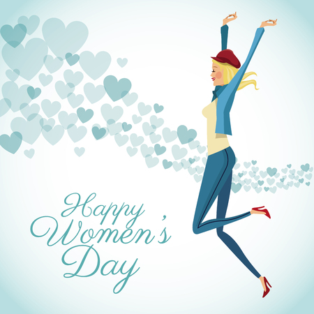 corazones azules: happy womens day card fun girl with blue hearts background