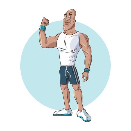 gezonde man atletische gespierde sterke arm