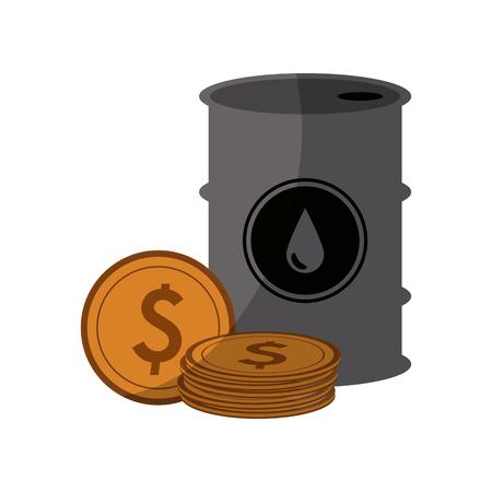 oil barrel and gold coins over white background. colorful design. oil industry concept. vector illustration Illustration