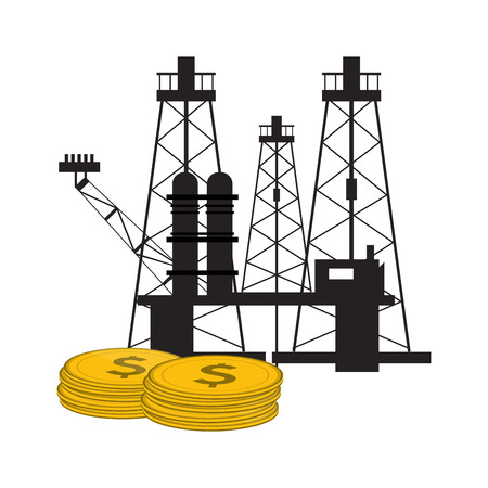 oil factory rig icon over white background. vector illustration