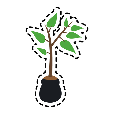 plant with soil in bag  icon image vector illustration design