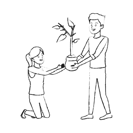 people with plant icon image vector illustration design Illustration