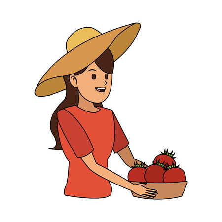 pit: woman holding fruits icon image vector illustration design