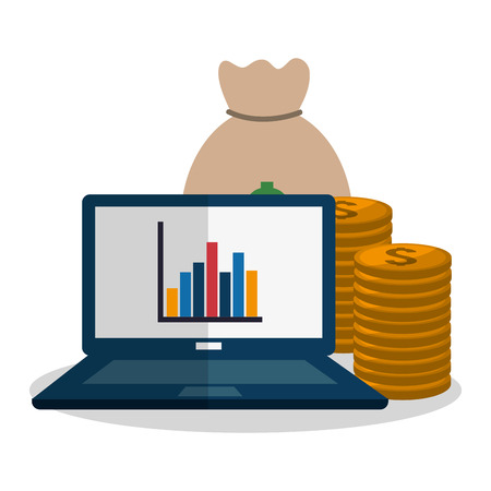 computer with economy or money related icons image vector illustration design