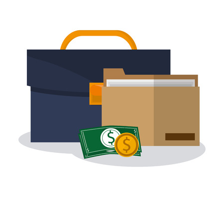 attache: briefcase, money and document folder icon over white background. colorful design. vector illustration