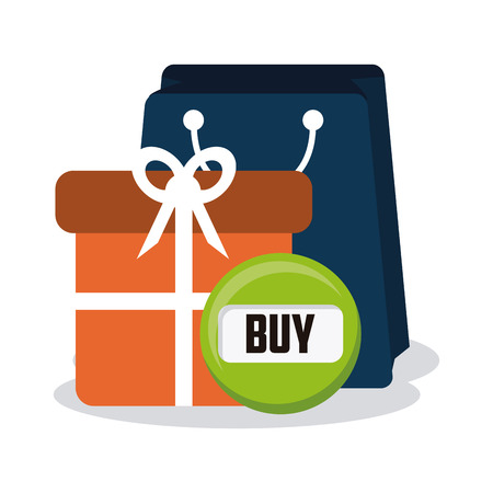 git: git box with related icons of e-commerce concept. colorful design. vector illustration
