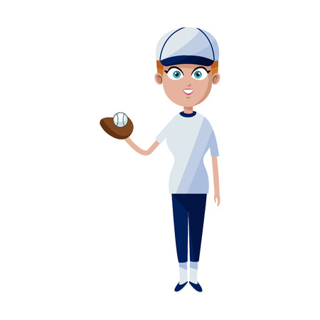woman baseball player icon image vector illustration design