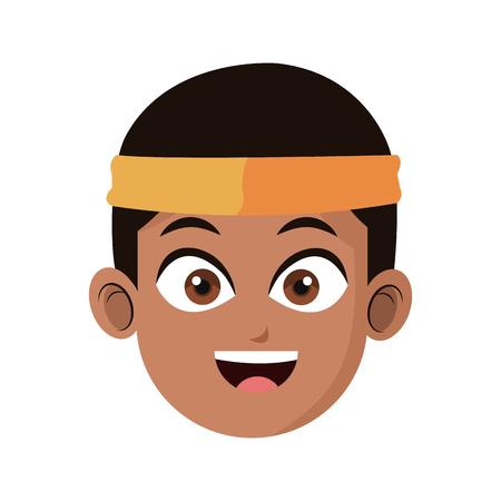 headband: handsome young man with headband  icon image vector illustration design