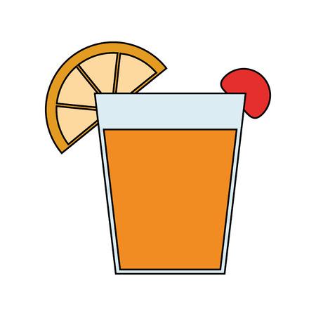 ice tea: Garnished cocktail drink icon image vector illustration design Illustration