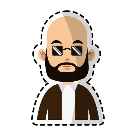 bald caucasian man with sunglasses man icon image vector illustration design