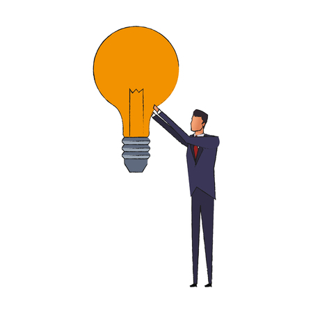 different thinking: businessman holding lightbulb idea concept icon image vector illustration design