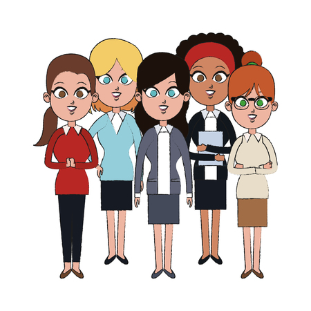 team of young business women icon image vector illustration design