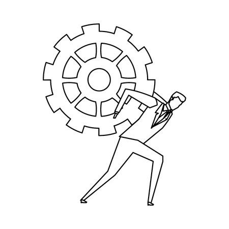 Unternehmer und Zahnrad-Symbol Bild Vektor-Illustration Design