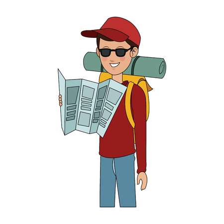 man tourist travel icon image vector illustration design
