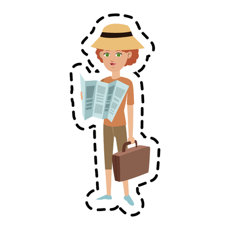 woman tourist travel icon image vector illustration design Illustration