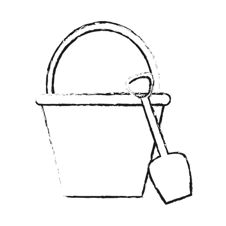 shovel and bucket with handle icon image vector illustration design