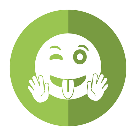 eyewink and tongue emoticon style icon shadow vector illustration eps 10