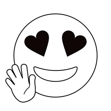 love hand emoticon style thin line vector illustration eps 10