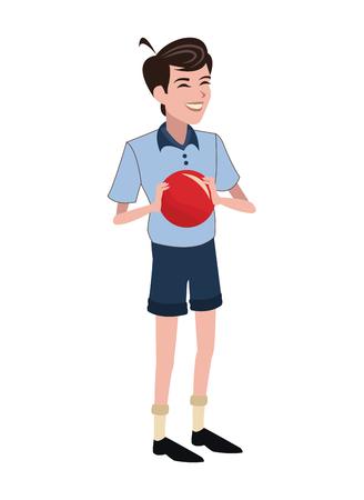 boy red ball family member vector illustration