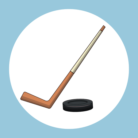 puck: hockey puck stick symbol vector illustration eps 10