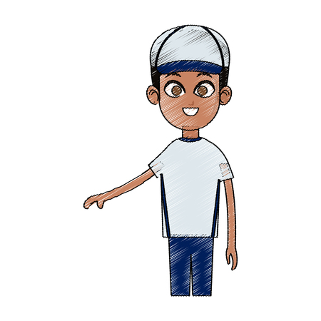 young handsome man with baseball hat icon image vector illustration design Illustration