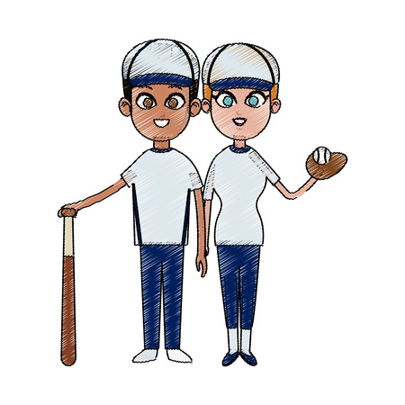 man and woman baseball players icon image vector illustration design Illustration