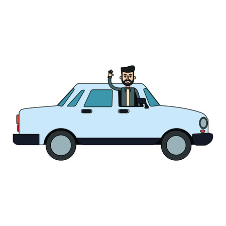 man coming out of window car sideview icon image vector illustration design