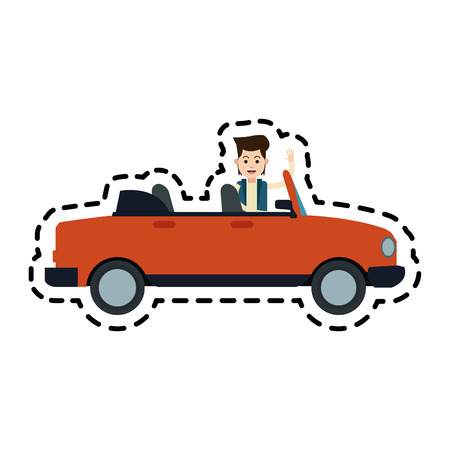 man and convertible car sideview icon image vector illustration design