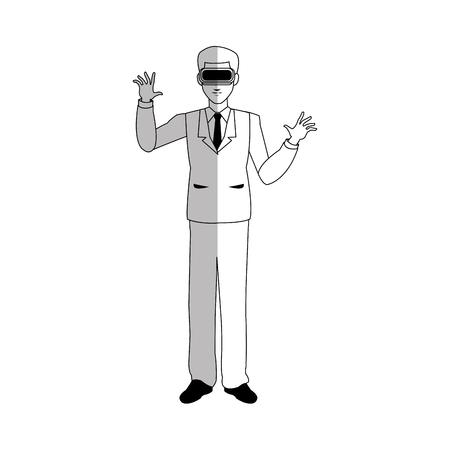 hombre con casco de realidad virtual sobre fondo blanco. ilustración vectorial