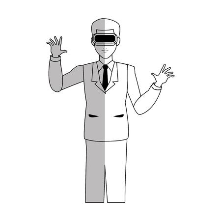 hombre con casco de realidad virtual sobre fondo blanco. ilustración vectorial Ilustración de vector