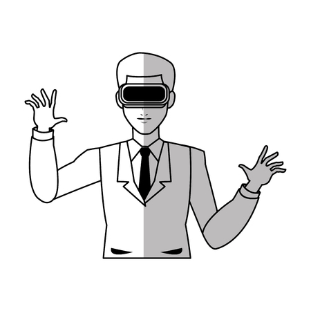 man with virtual reality headset over white background. vector illustration