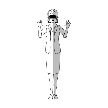 Woman with virtual reality headset over white background. vector illustration