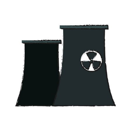 dangerous construction: nuclear plant icon over white background.  vector illustration