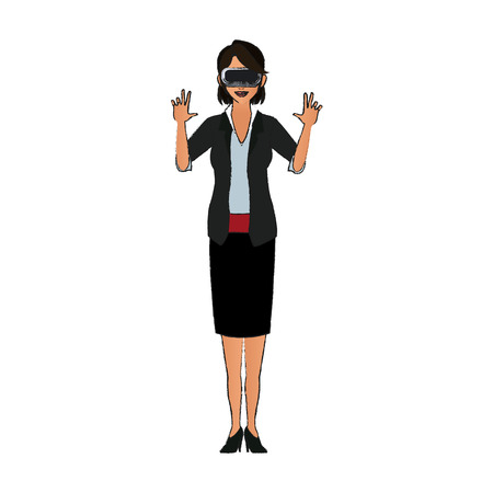 cyber woman: Woman with virtual reality headset over white background. colorful design. vector illustration Illustration