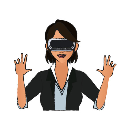 Woman with virtual reality headset over white background. colorful design. vector illustration Illustration