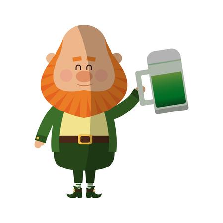 jarra de cerveza: Leprechaun irlandés con el tarro de cerveza sobre fondo blanco. diseño colorido. ilustración vectorial