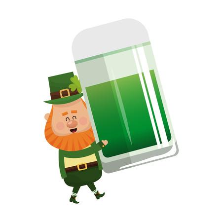 jarra de cerveza: irish leprechaun with jar of beer over white background. colorful design. vector illustration
