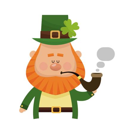 leprechaun smoking a pipe over white background. colorful design. vector illustration Illustration