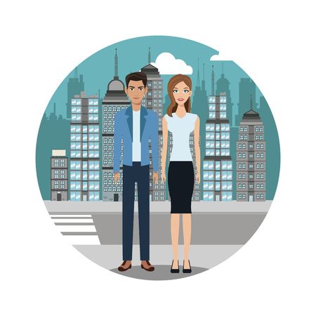 romantic woman: couple lifestyle together urban background vector illustration eps 10