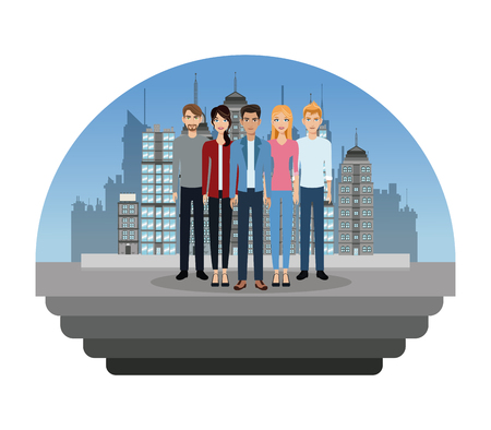 people young in the city vector illustration eps 10 Illustration